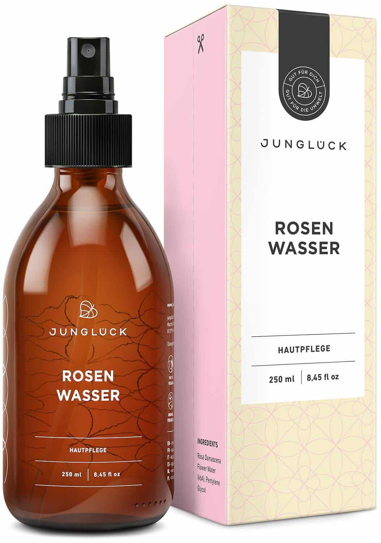 Junglück Rosenwasser in brauner Glasflasche