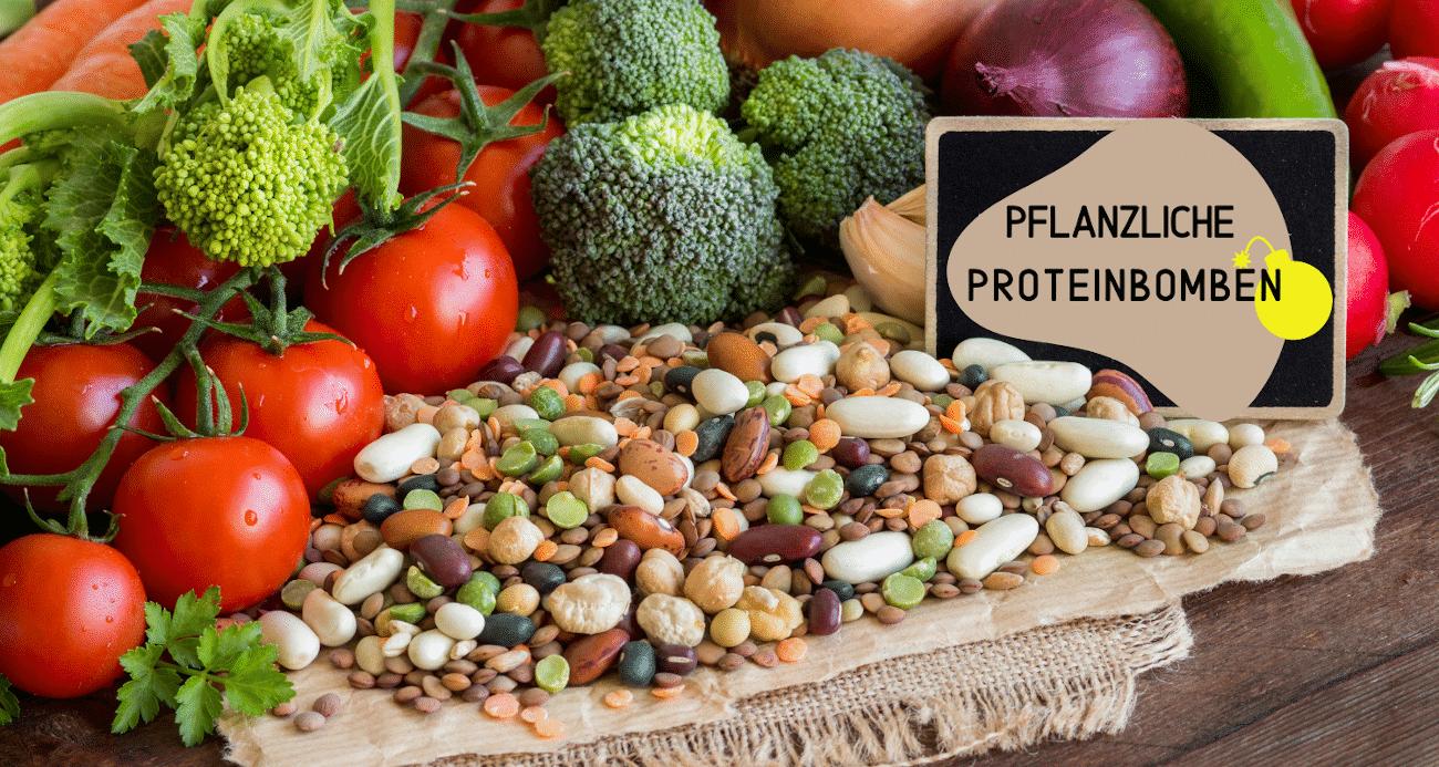 Verschiedene Gemüsesorten und Hülsenfrüchte in brauner Schale